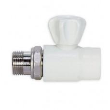 Кран шаровый для радиатора прямой Д20*1/2 белый